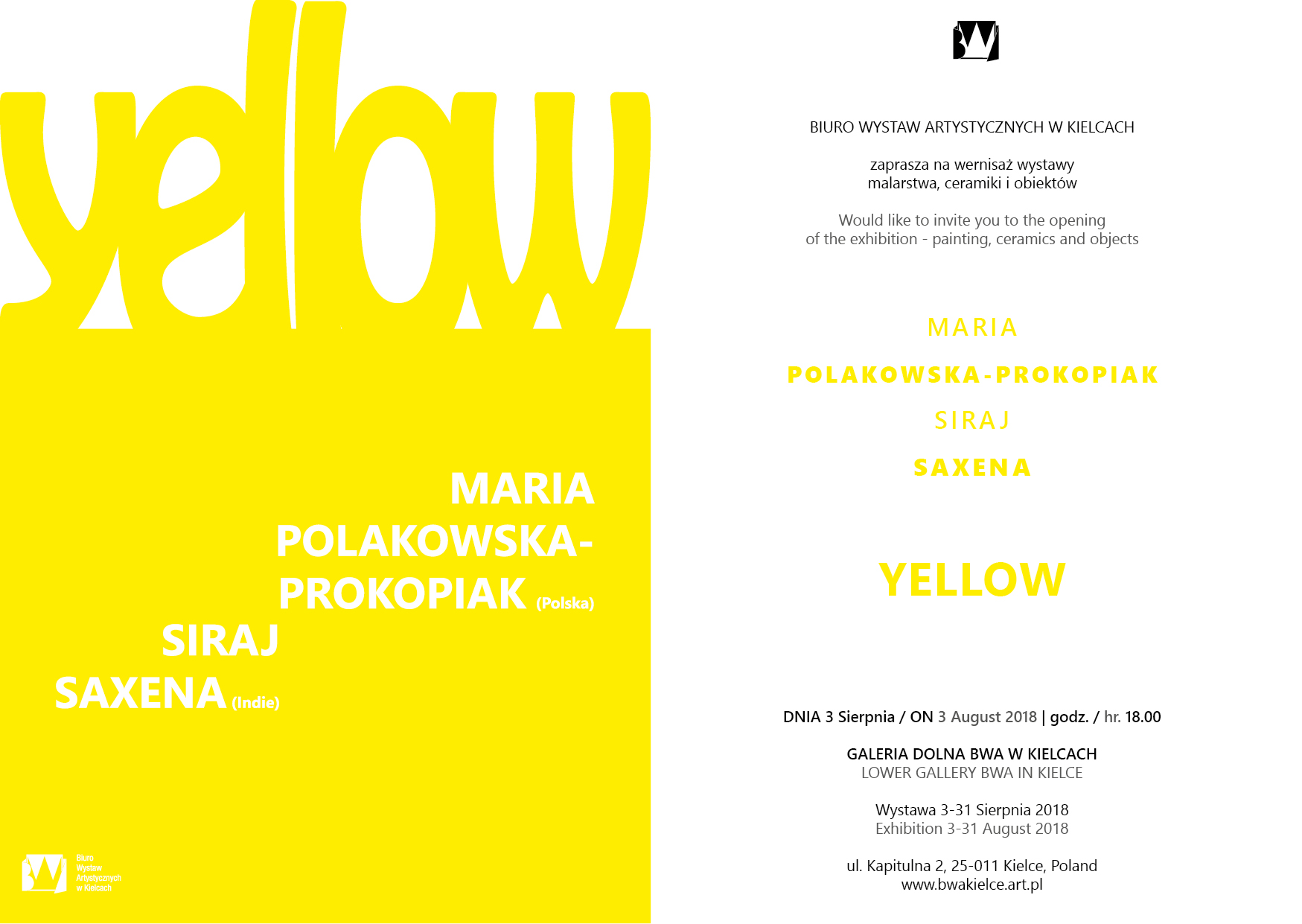 invitation YELLOW BWA Kielce 3 august 2018